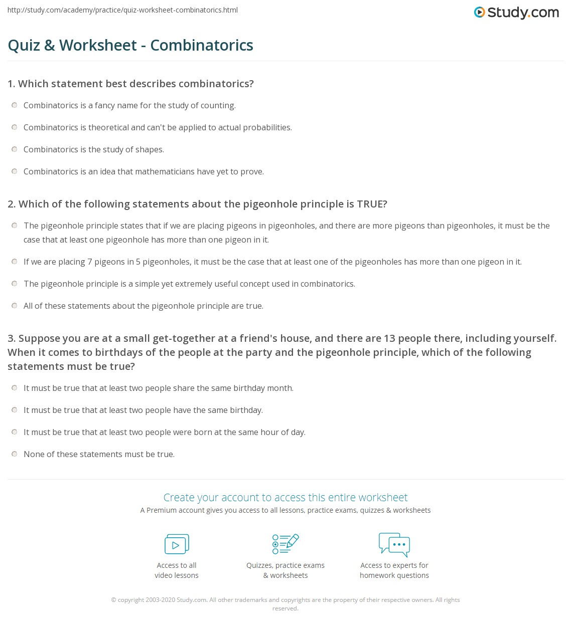 quiz worksheet combinatorics. Black Bedroom Furniture Sets. Home Design Ideas