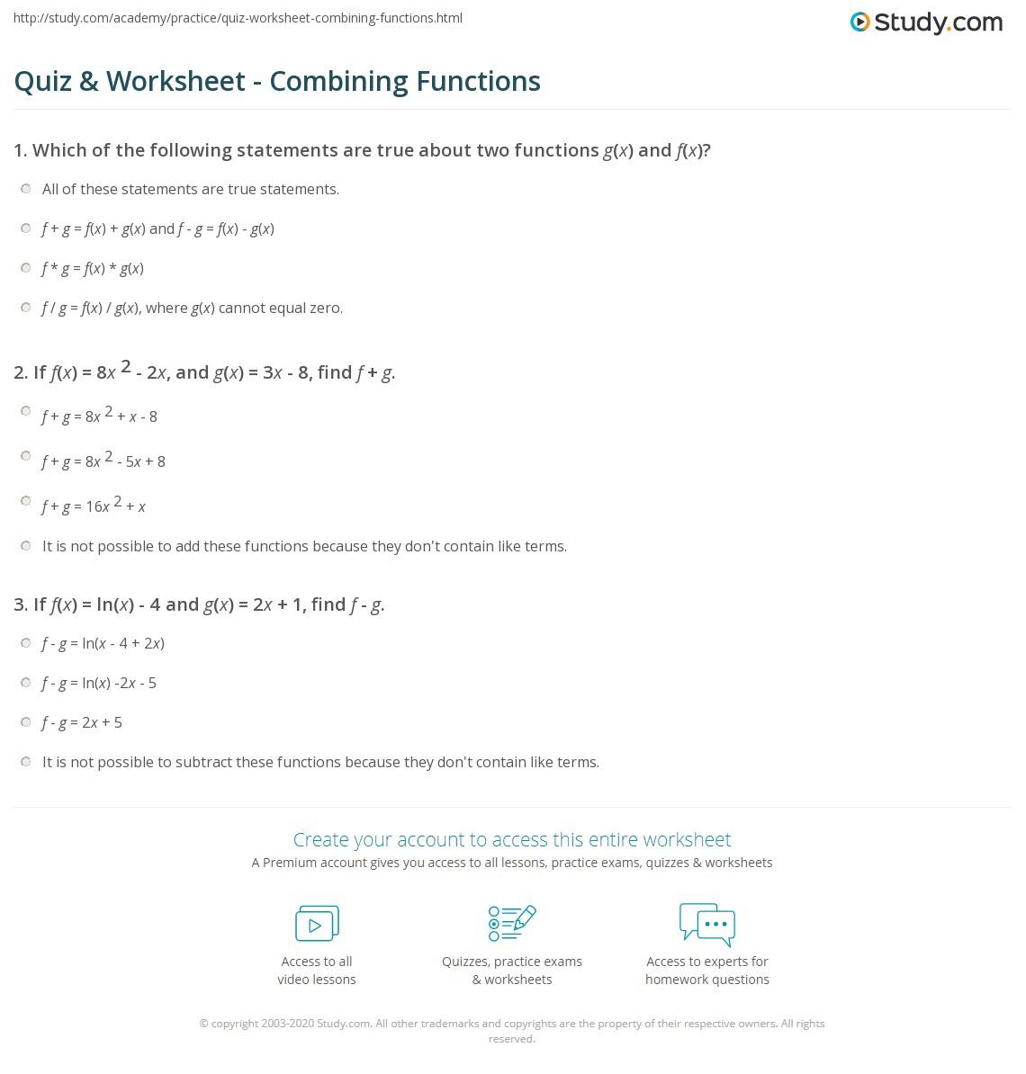 Quiz Worksheet Combining Functions Study
