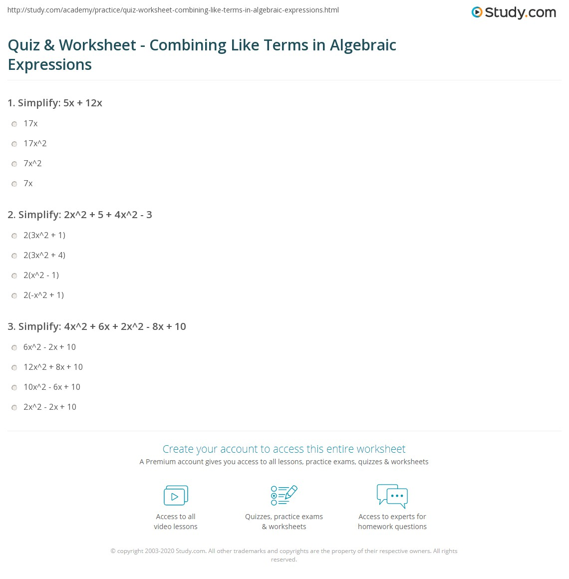 Quiz & Worksheet - Combining Like Terms in Algebraic Expressions ...