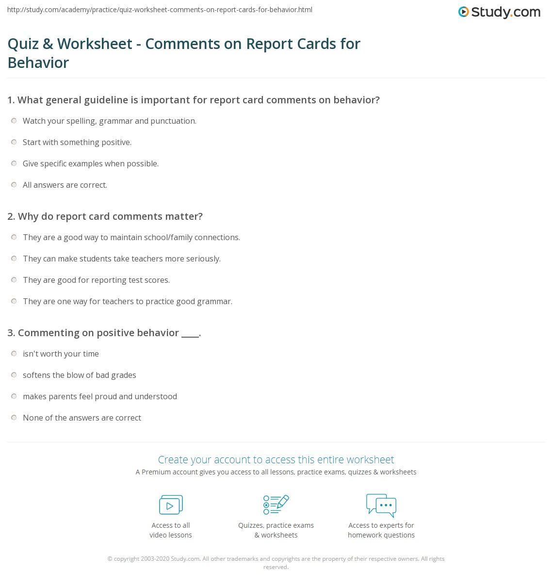 Quiz Amp Worksheet Comments On Report Cards For Behavior