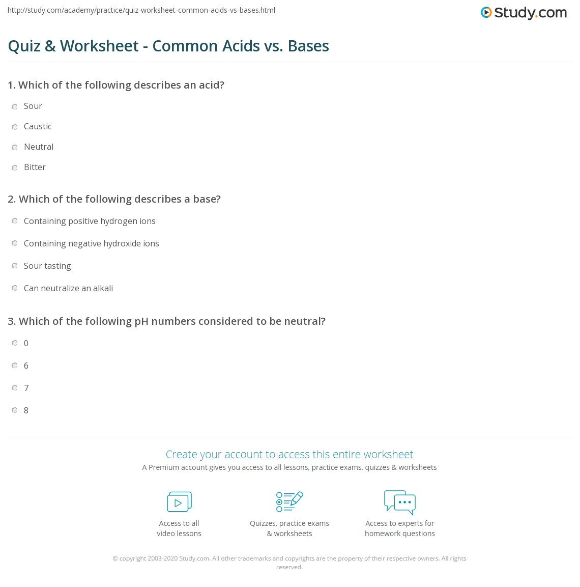 worksheet Acid And Base Worksheet Answers quiz worksheet common acids vs bases study com print comparing worksheet