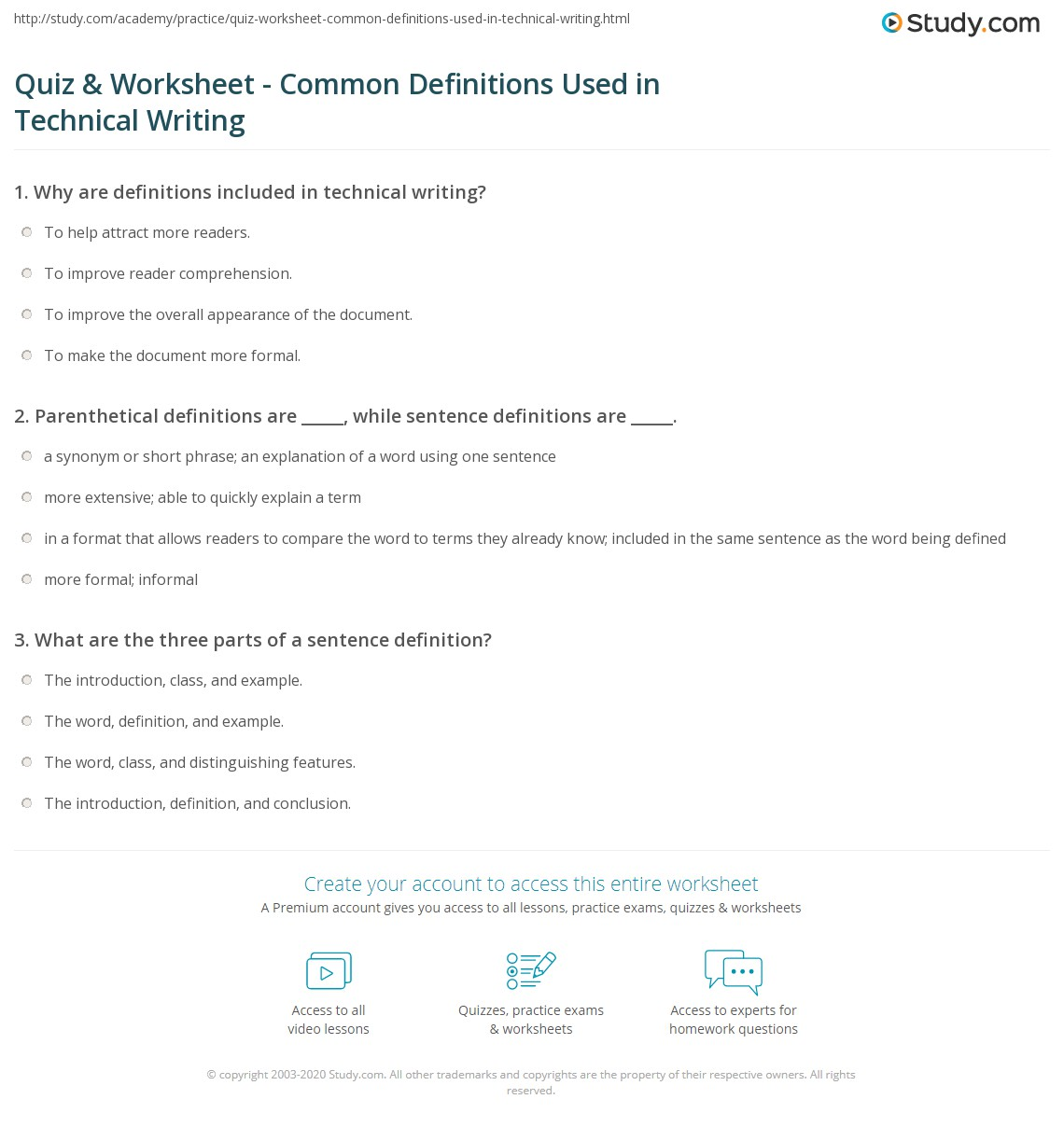 quiz & worksheet - common definitions used in technical writing