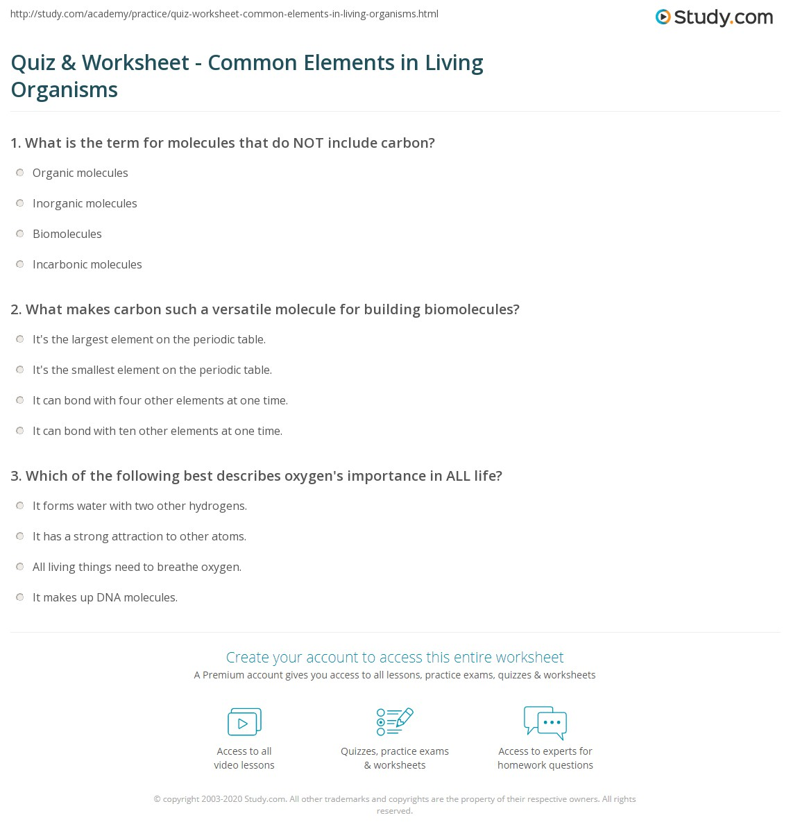 Quiz Worksheet Common Elements In Living Organisms Study