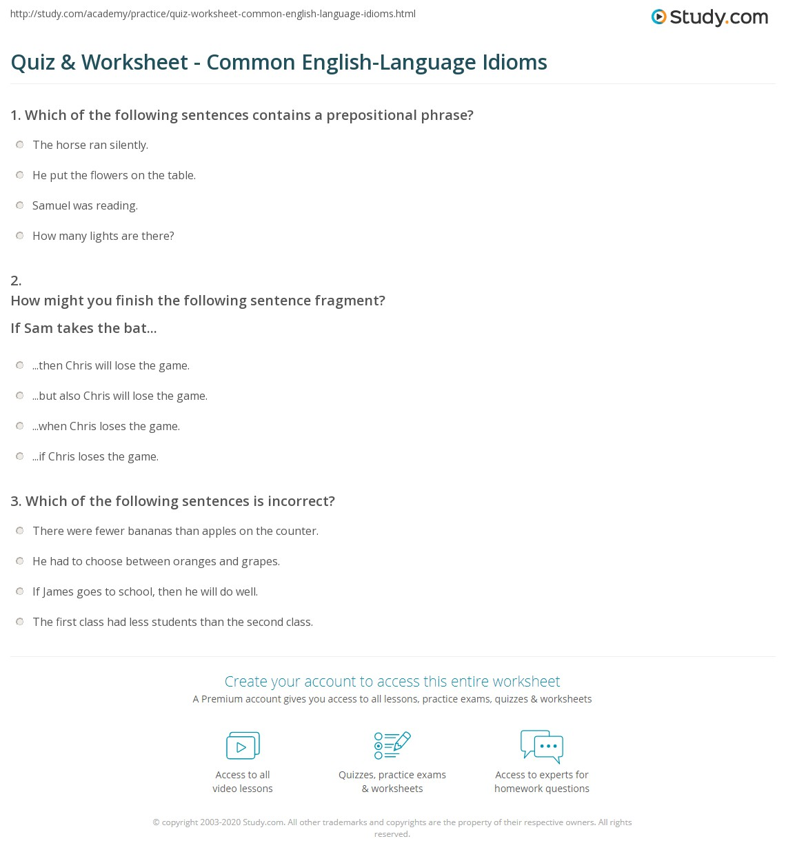 Quiz & Worksheet - Common Engl...