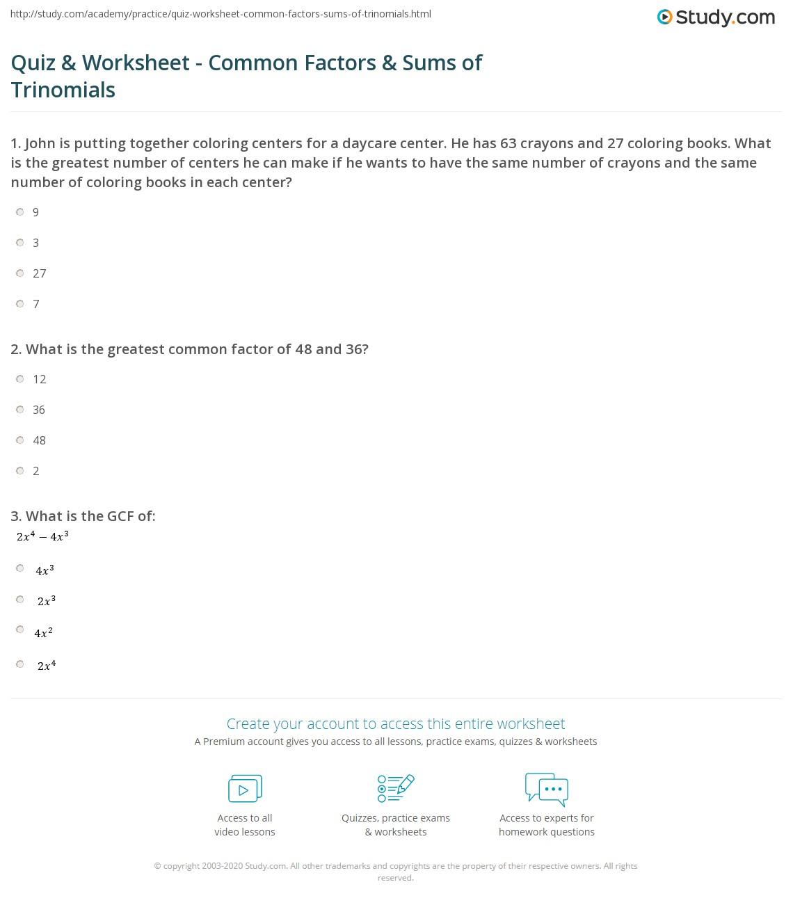 Print Trinomials:mon Factors &mon Factor Sums Worksheet Quiz & Worksheet  Mon Factors & Sums