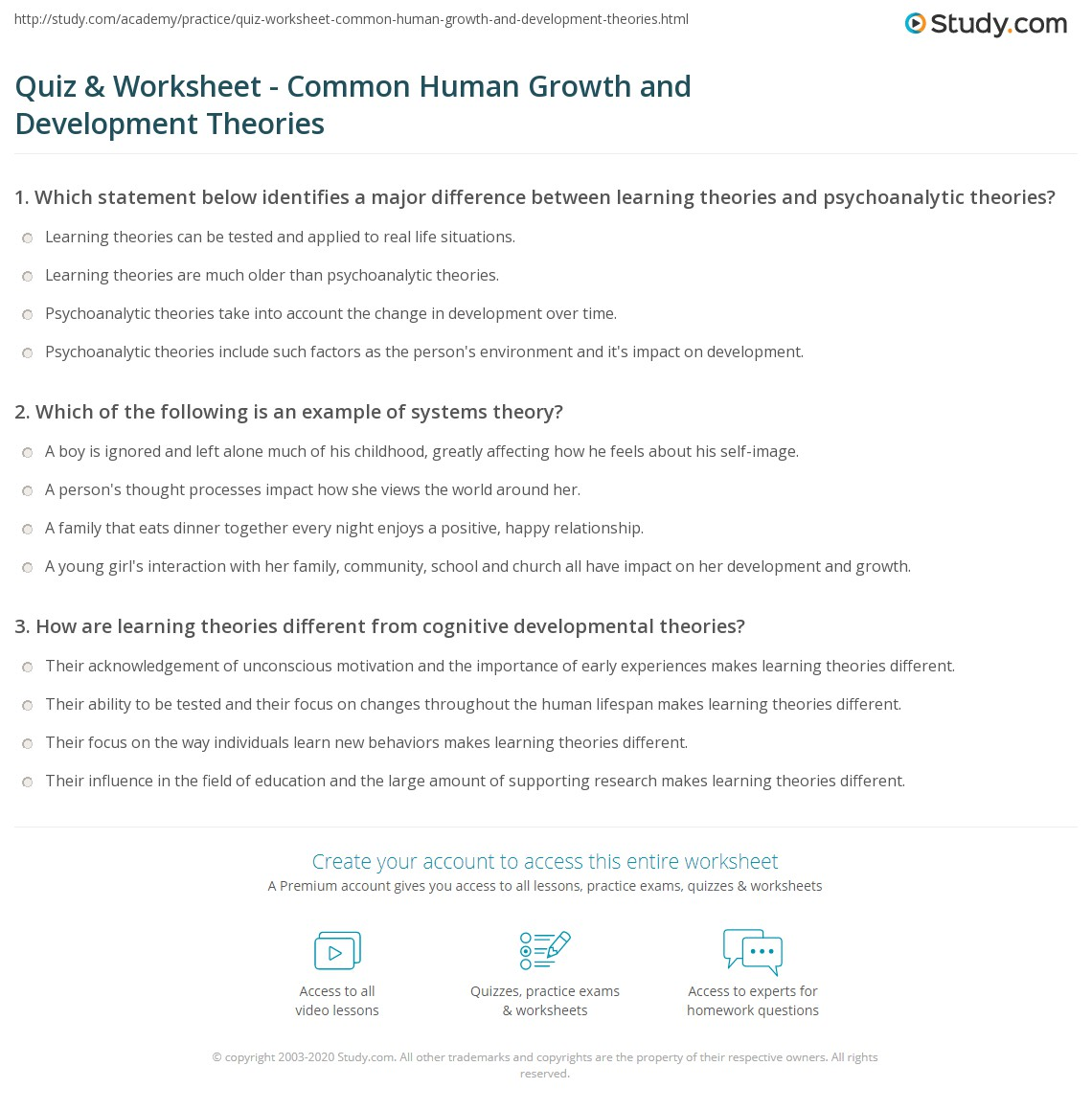 Quiz & Worksheet - Common Human Growth and Development Theories ...