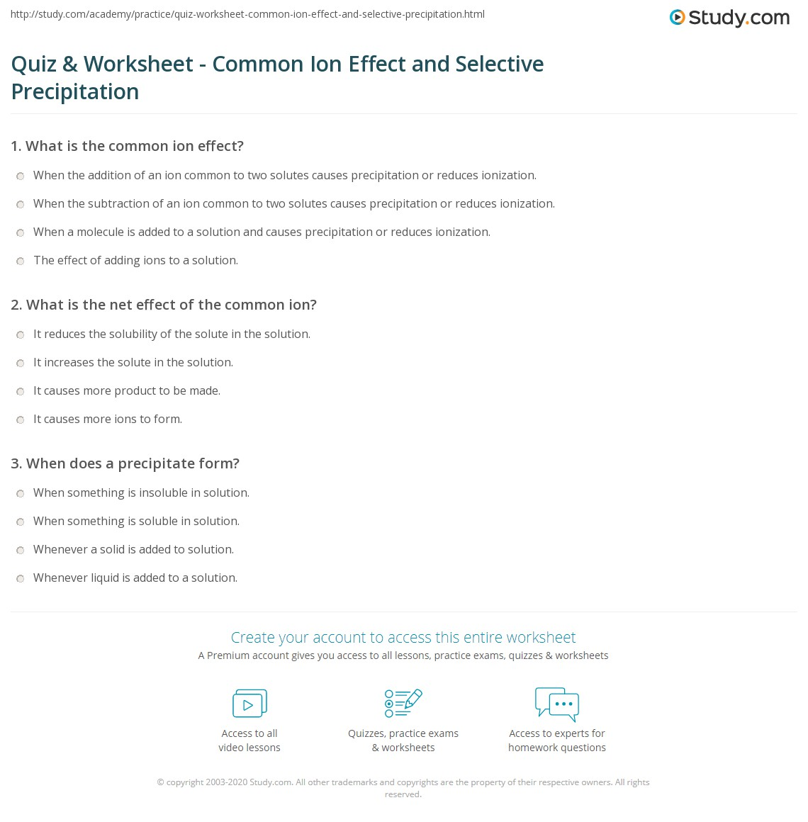 worksheet Precipitation Reactions Worksheet quiz worksheet common ion effect and selective precipitation print the worksheet