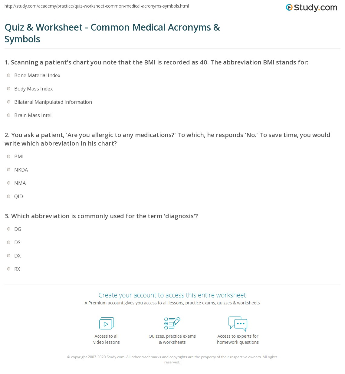 S with line on top medical abbreviation - Print Common Medical Acronyms Symbols Worksheet