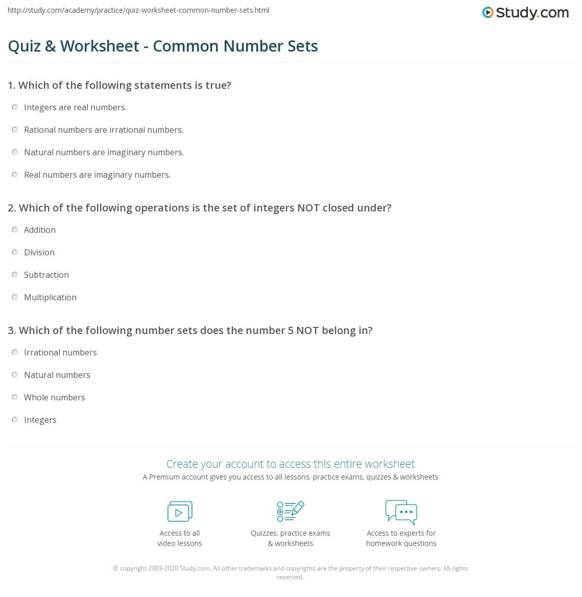 quiz worksheet common number sets. Black Bedroom Furniture Sets. Home Design Ideas
