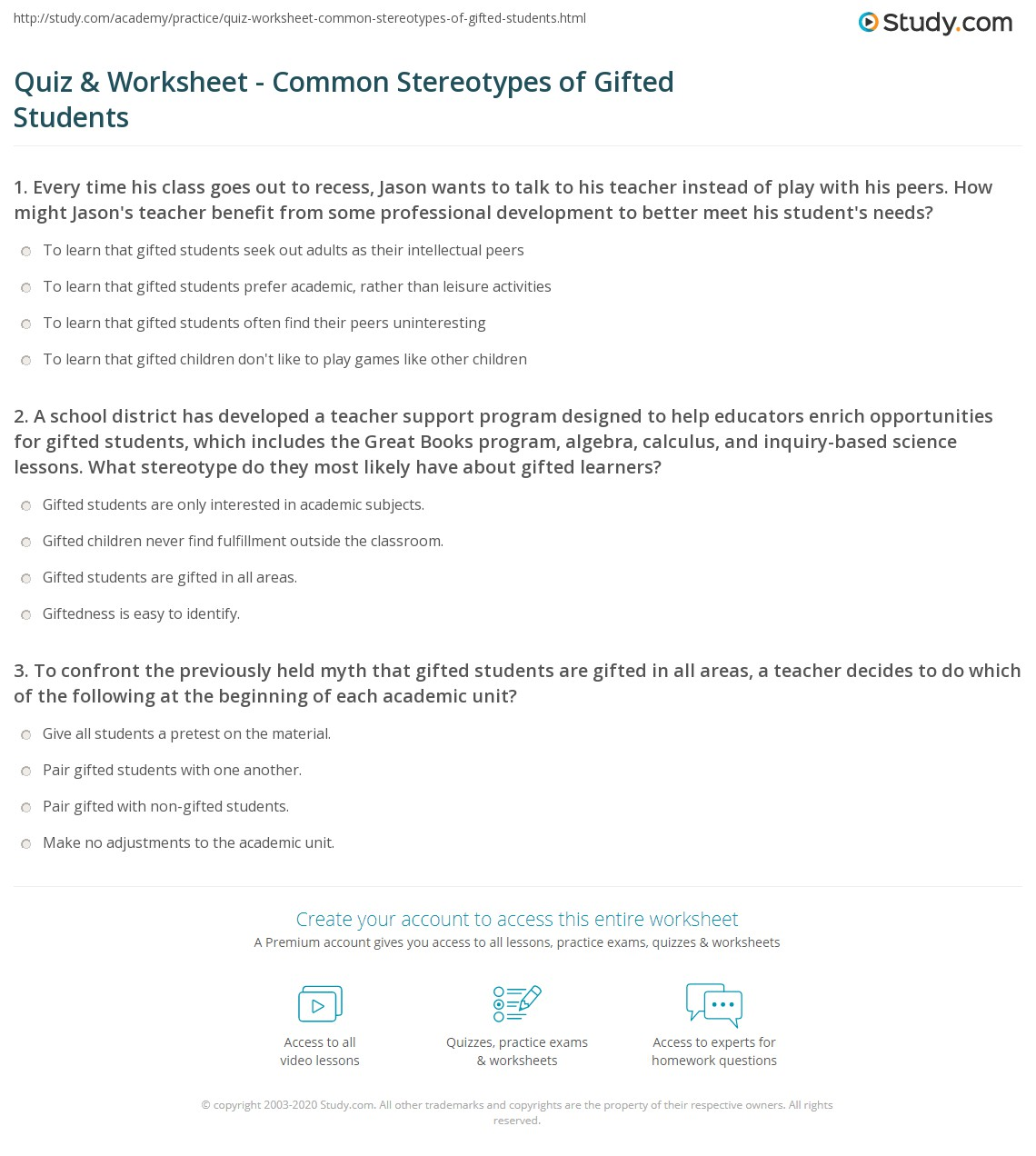 Quiz Worksheet Common Stereotypes Of Gifted Students Study Com