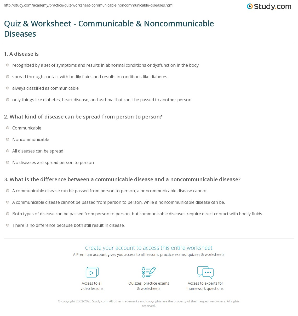 Print Communicable & Noncommunicable Diseases: Definition & Examples  Worksheet