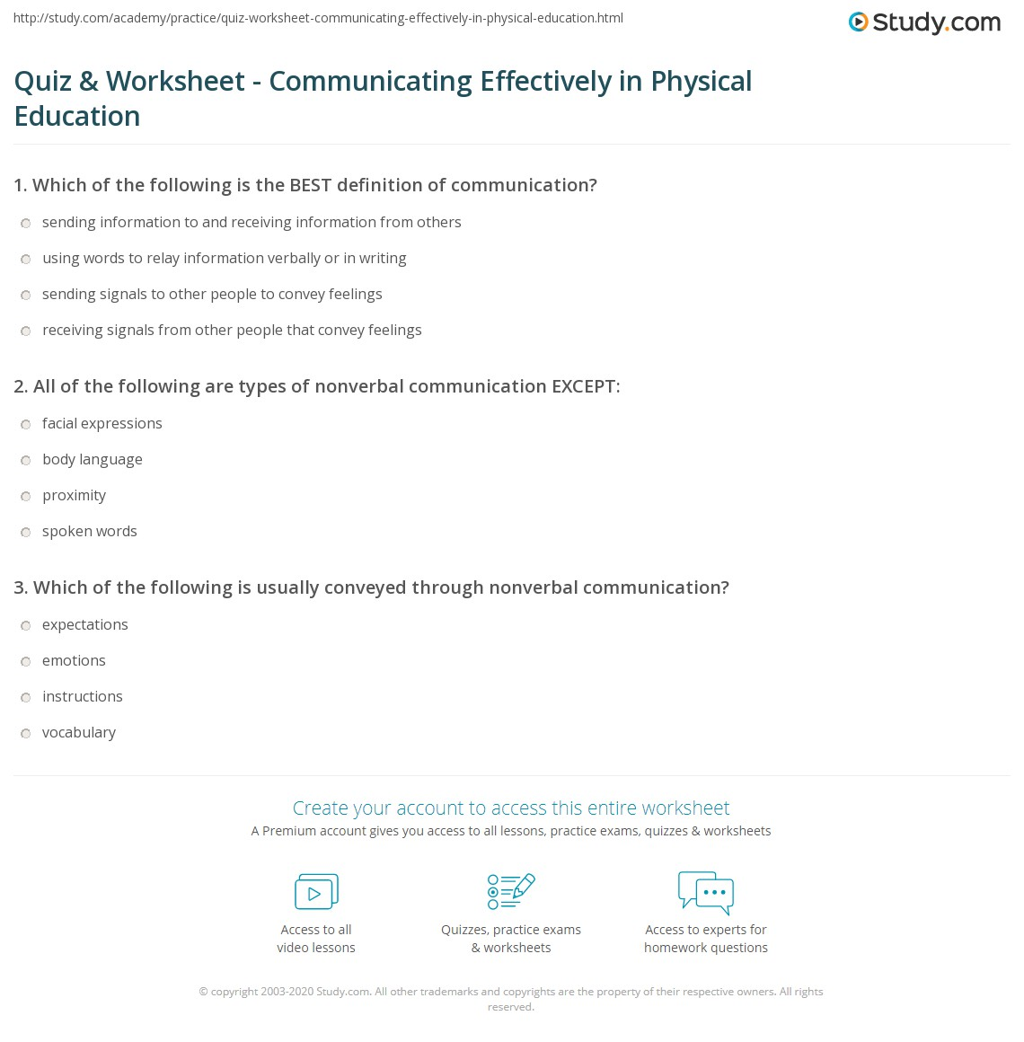 quiz & worksheet - communicating effectively in physical education