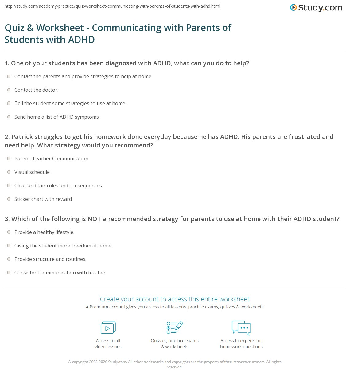 What Can Be Done To Help Parents Of >> Quiz Worksheet Communicating With Parents Of Students With Adhd