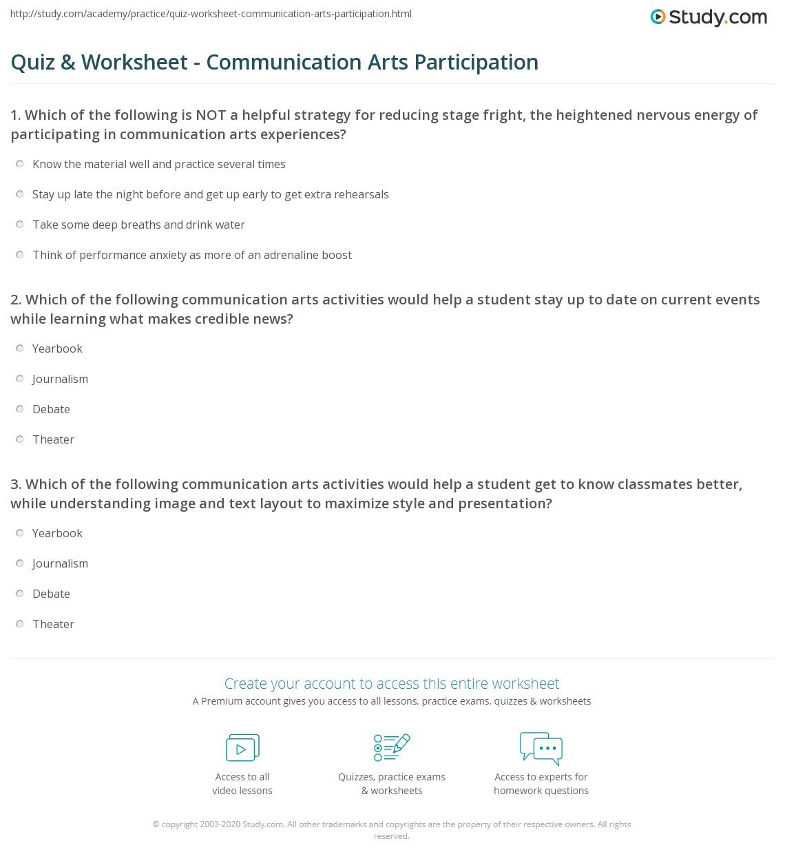 Quiz Worksheet Communication Arts Participation – Current Events Worksheet