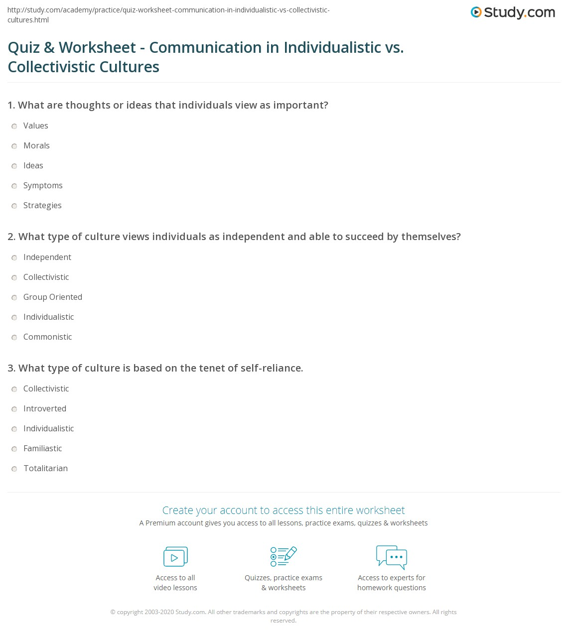 quiz worksheet communication in individualistic vs collectivistic cultures. Black Bedroom Furniture Sets. Home Design Ideas
