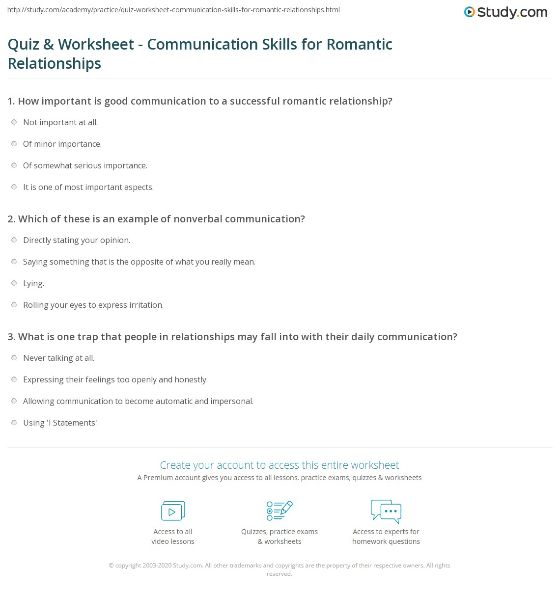 worksheet Communication Skills Worksheets For Adults quiz worksheet communication skills for romantic relationships print healthy worksheet
