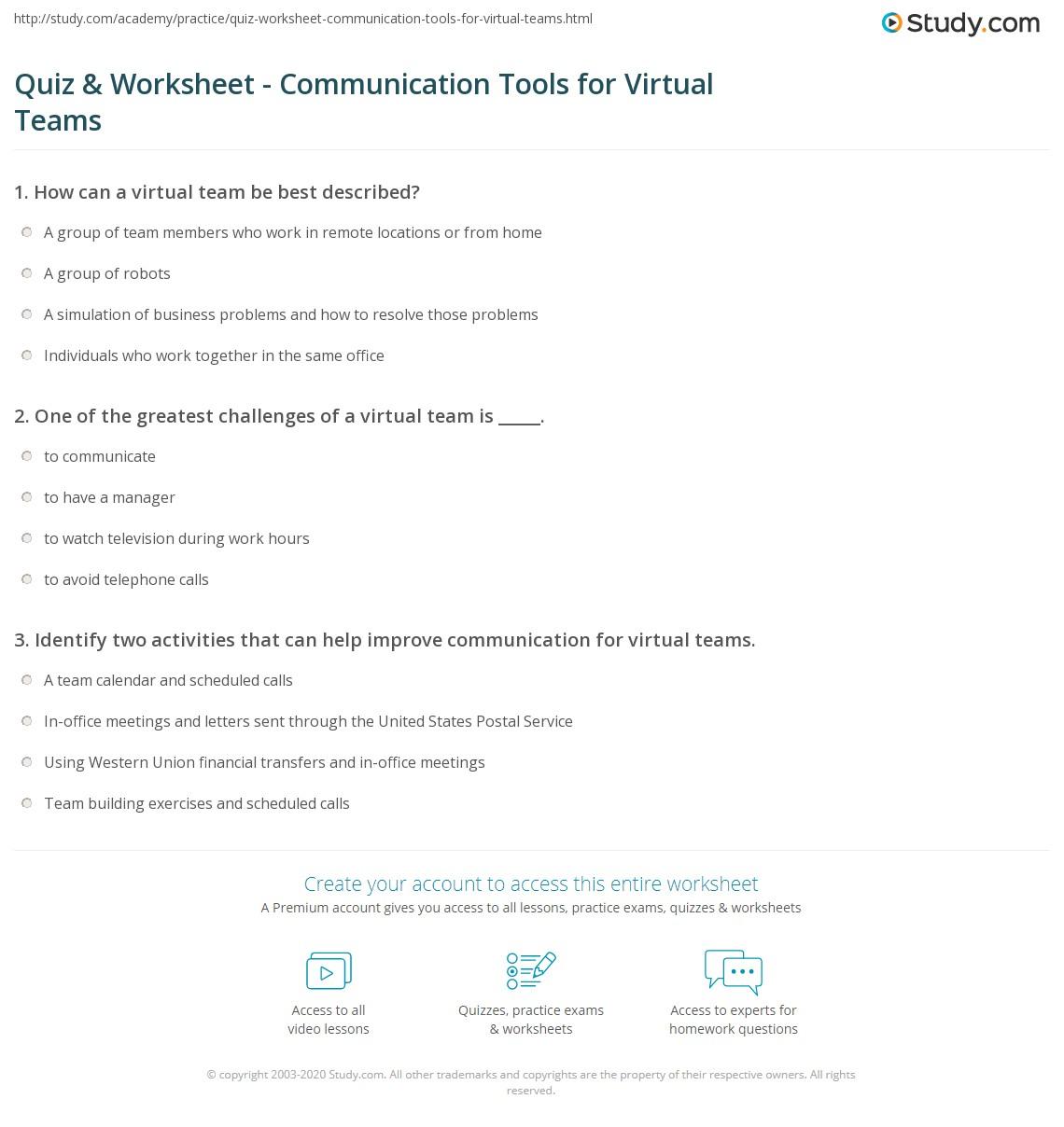 quiz worksheet communication tools for virtual teams. Black Bedroom Furniture Sets. Home Design Ideas
