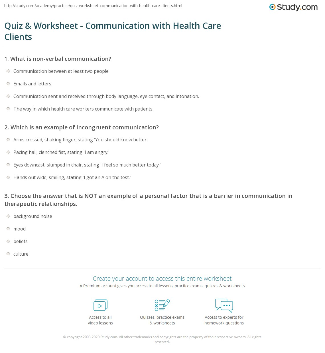 Quiz Worksheet Communication With Health Care Clients Study Com