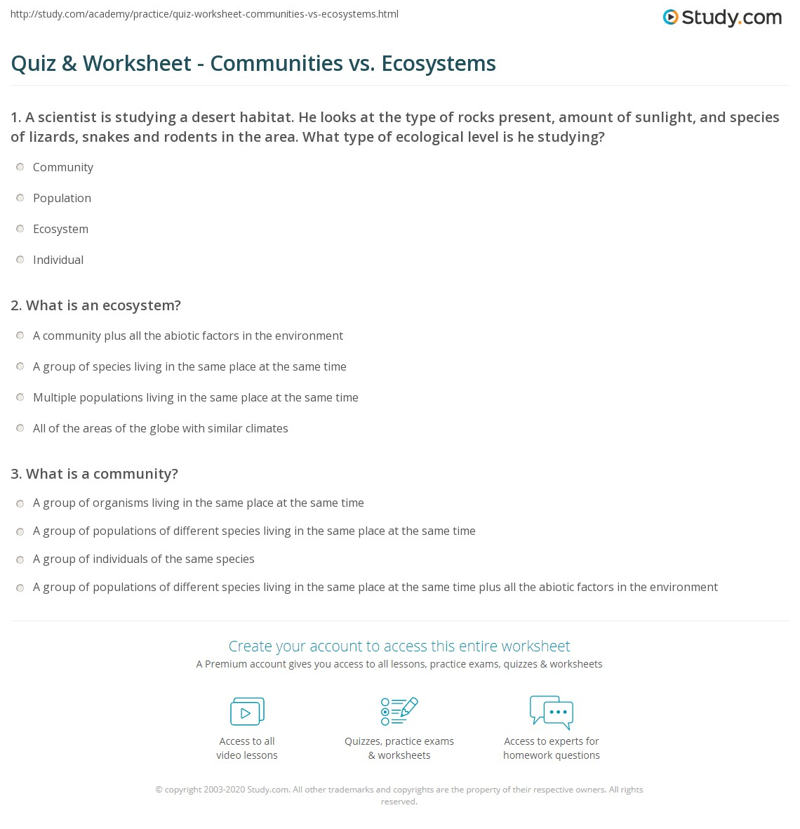 Worksheets Communities Worksheets quiz worksheet communities vs ecosystems study com print difference between a community and an ecosystem worksheet