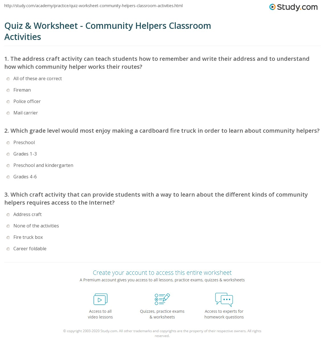 worksheet Community Worksheets quiz worksheet community helpers classroom activities study com print crafts worksheet