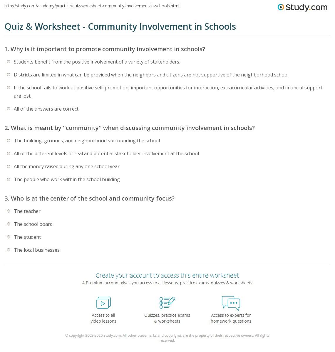 Quiz & Worksheet - Community Involvement in Schools   Study.com