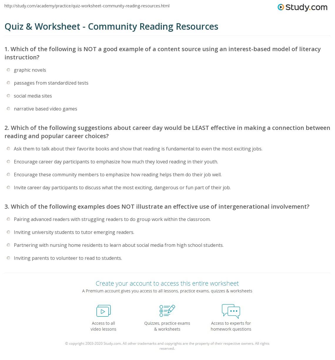 Quiz Worksheet Community Reading Resources Study