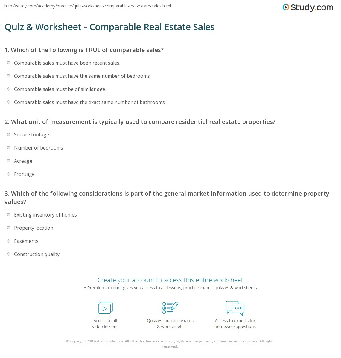 Quiz Worksheet Comparable Real Estate Sales Study