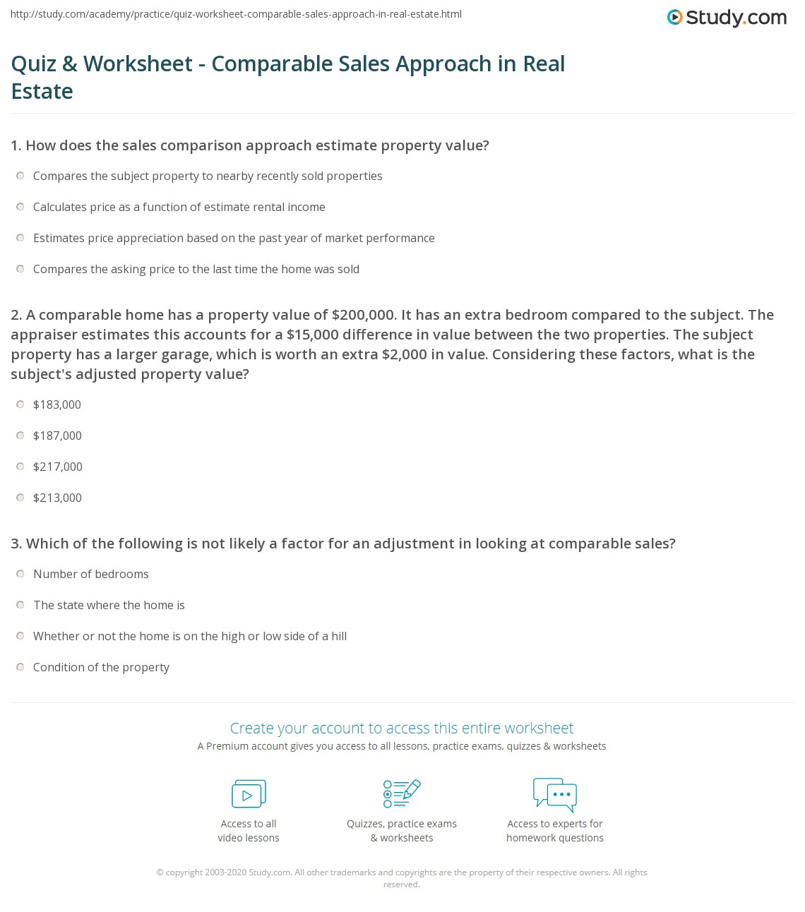 Quiz & Worksheet - Comparable Sales Approach in Real Estate | Study.com