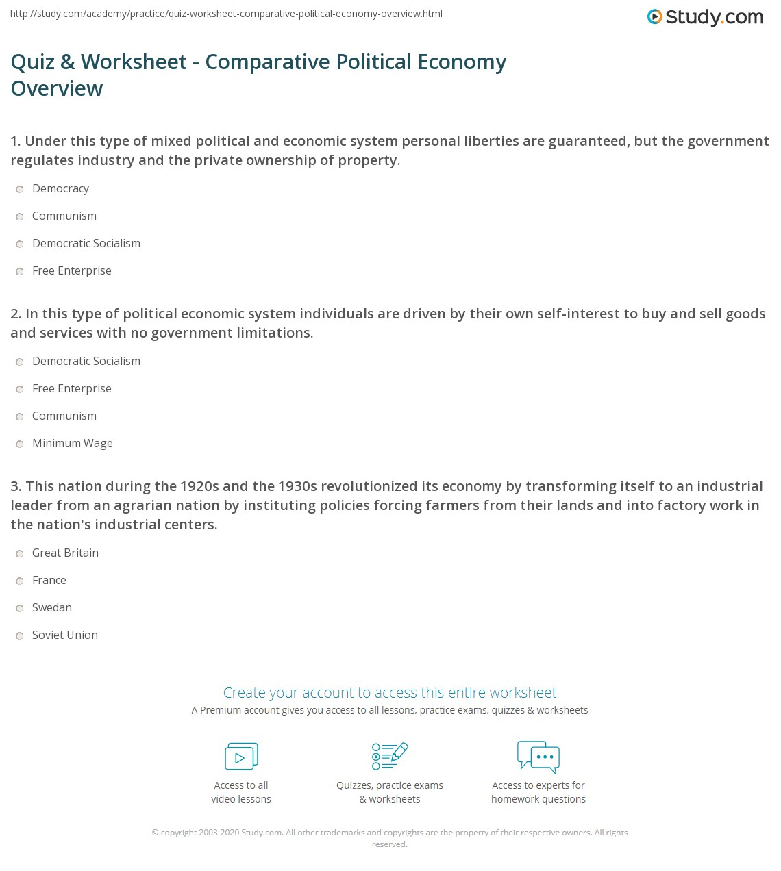 Quiz Worksheet Comparative Political Economy Overview