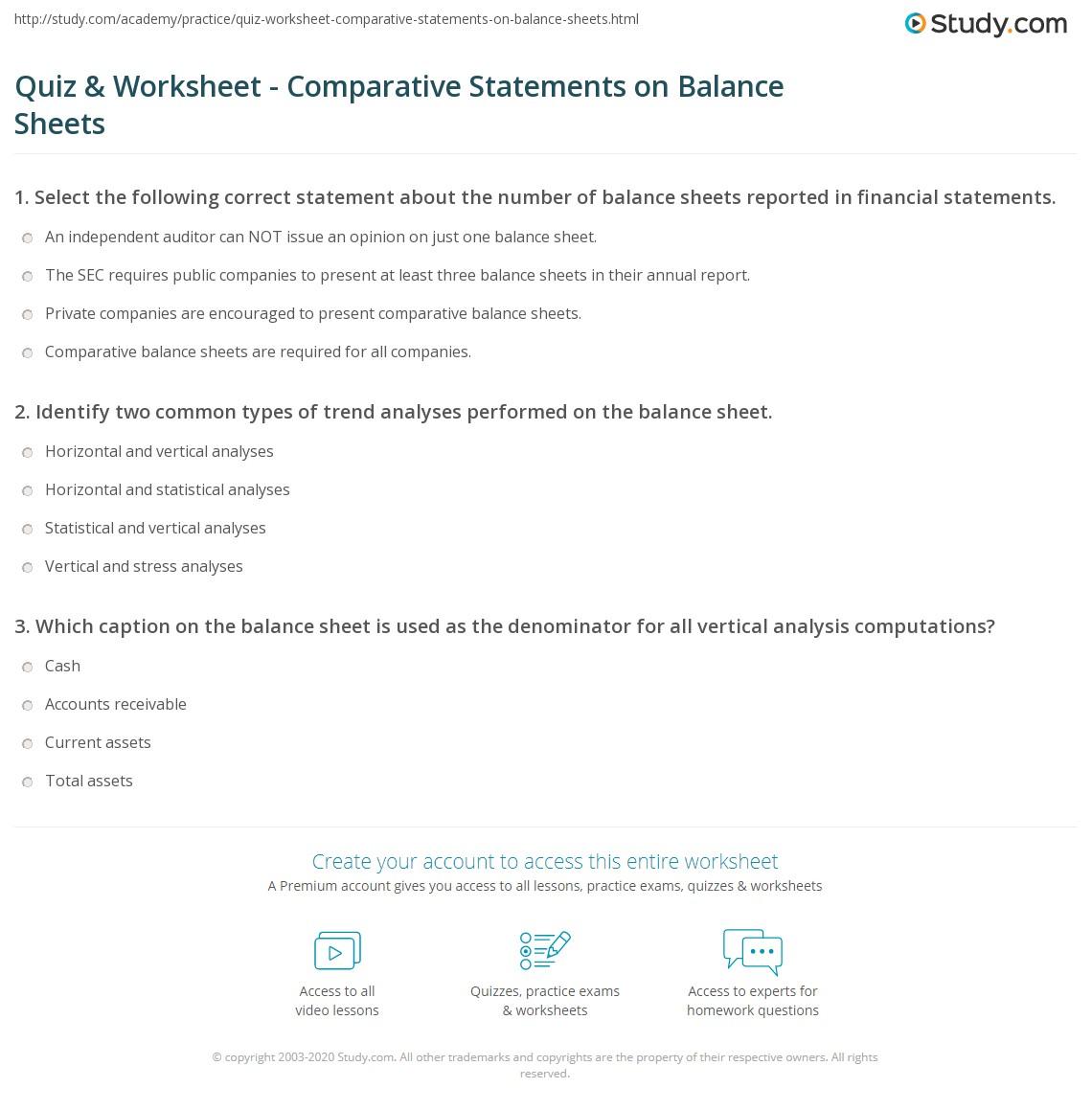 Quiz Worksheet Comparative Statements On Balance Sheets Study Com