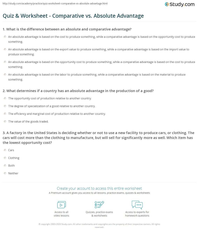 worksheet Comparative Advantage Worksheet quiz worksheet comparative vs absolute advantage study com print differentiating between and worksheet
