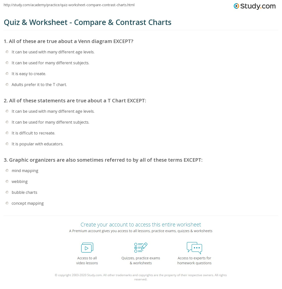 Quiz worksheet compare contrast charts study all of these statements are true about a t chart except ccuart Images