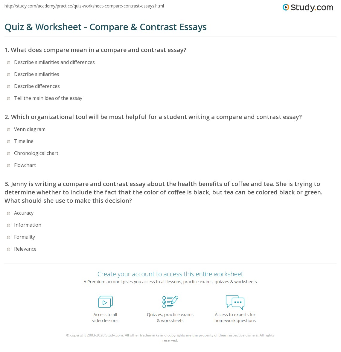 quiz worksheet compare contrast essays com which organizational tool will be most helpful for a student writing a compare and contrast essay