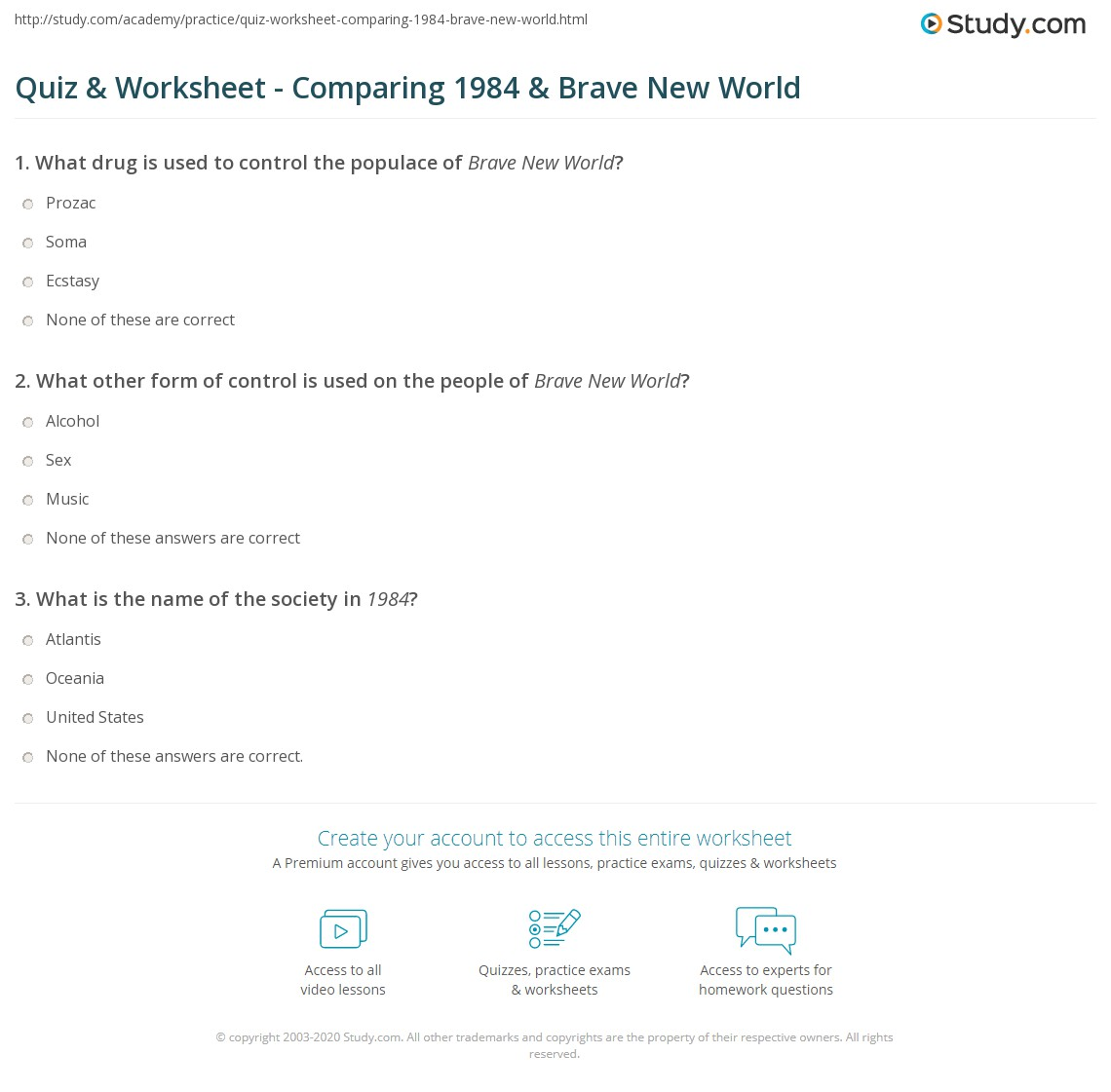 quiz worksheet comparing 1984 brave new world study com
