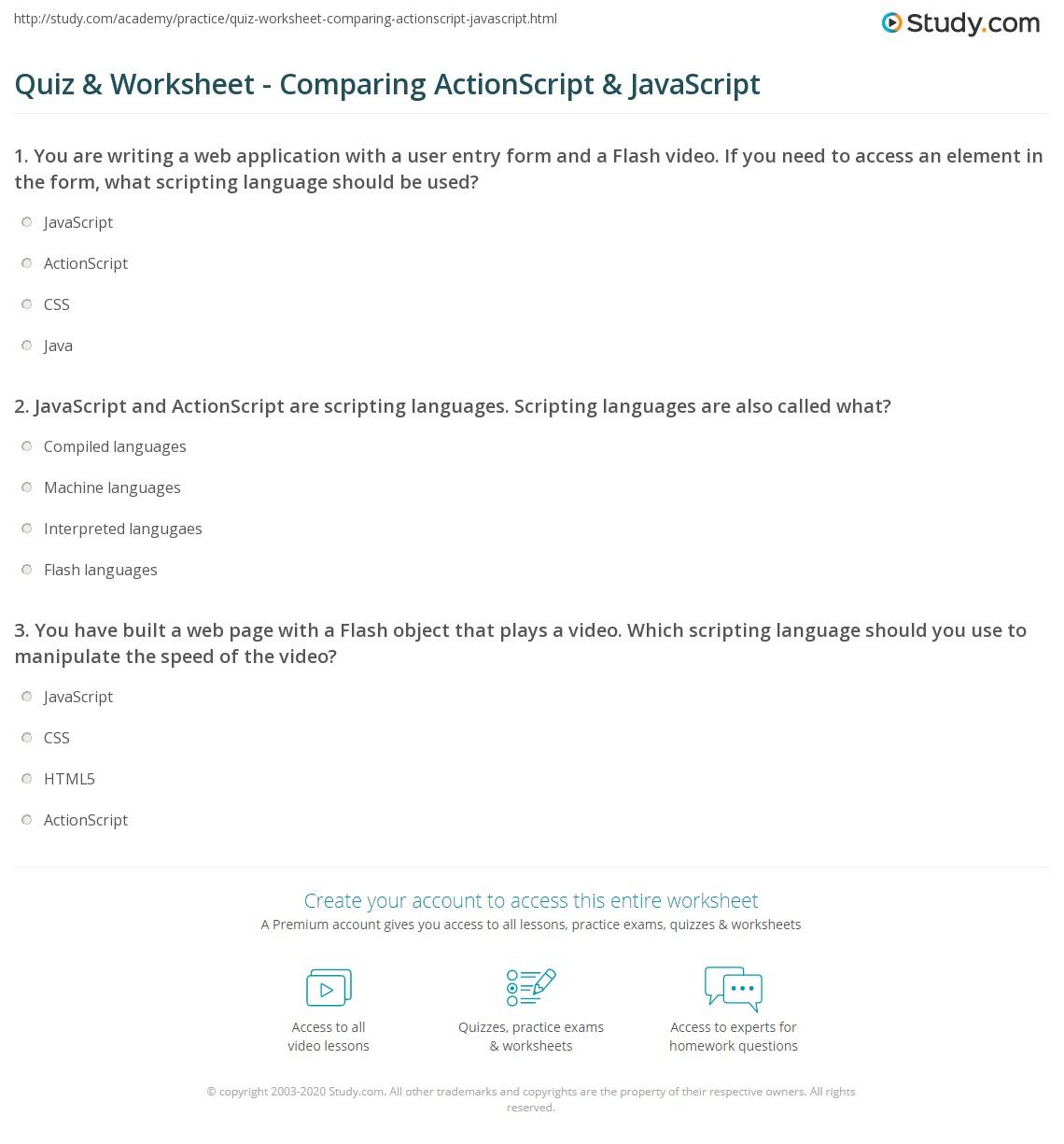 Quiz & Worksheet - Comparing ActionScript & JavaScript ...