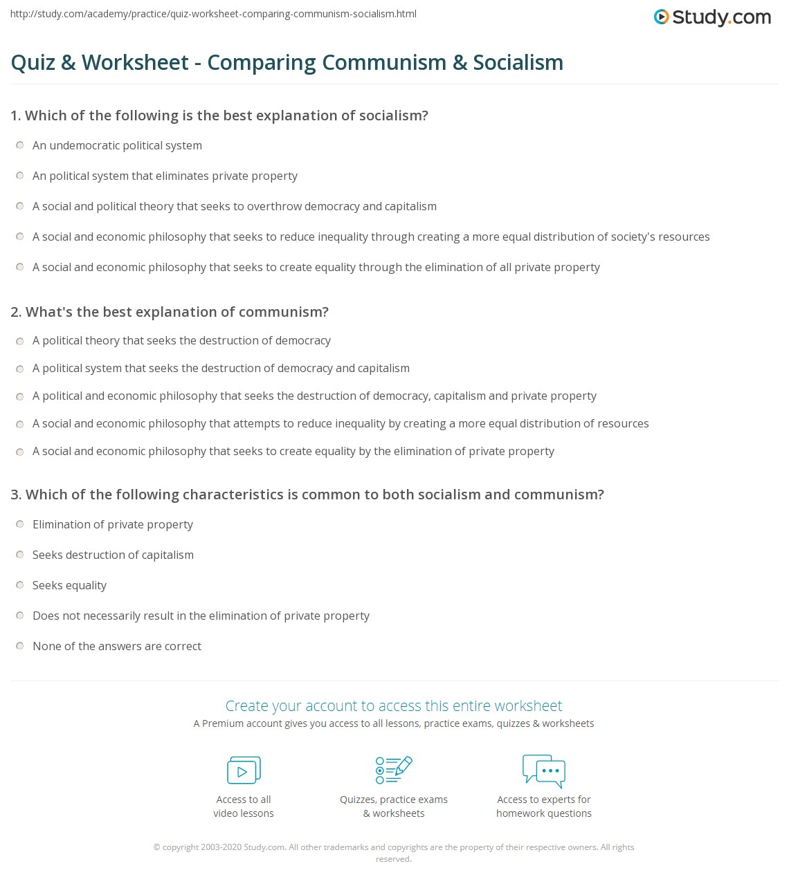 quiz worksheet comparing communism socialism com what s the best explanation of communism