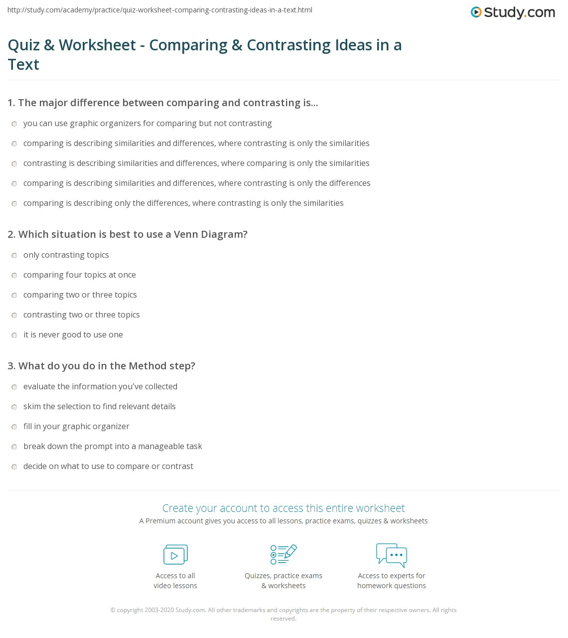 Worksheets Compare And Contrast Reading Worksheets quiz worksheet comparing contrasting ideas in a text study com print how to compare contrast reading selection worksheet