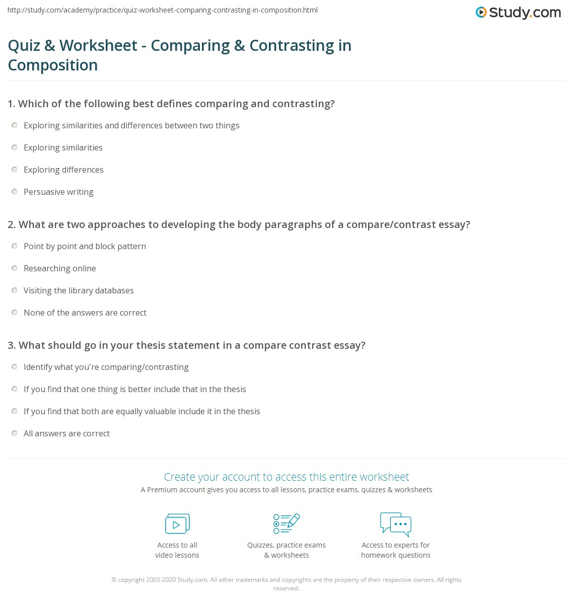 quiz  worksheet  comparing  contrasting in composition  studycom what are two approaches to developing the body paragraphs of a comparecontrast  essay
