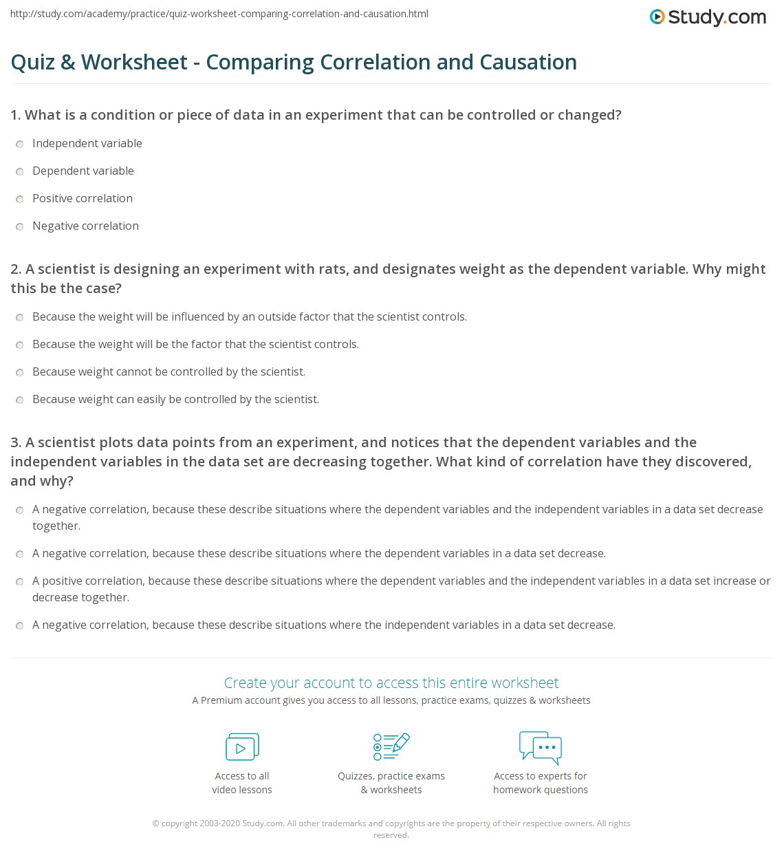 quiz worksheet comparing correlation and causation. Black Bedroom Furniture Sets. Home Design Ideas