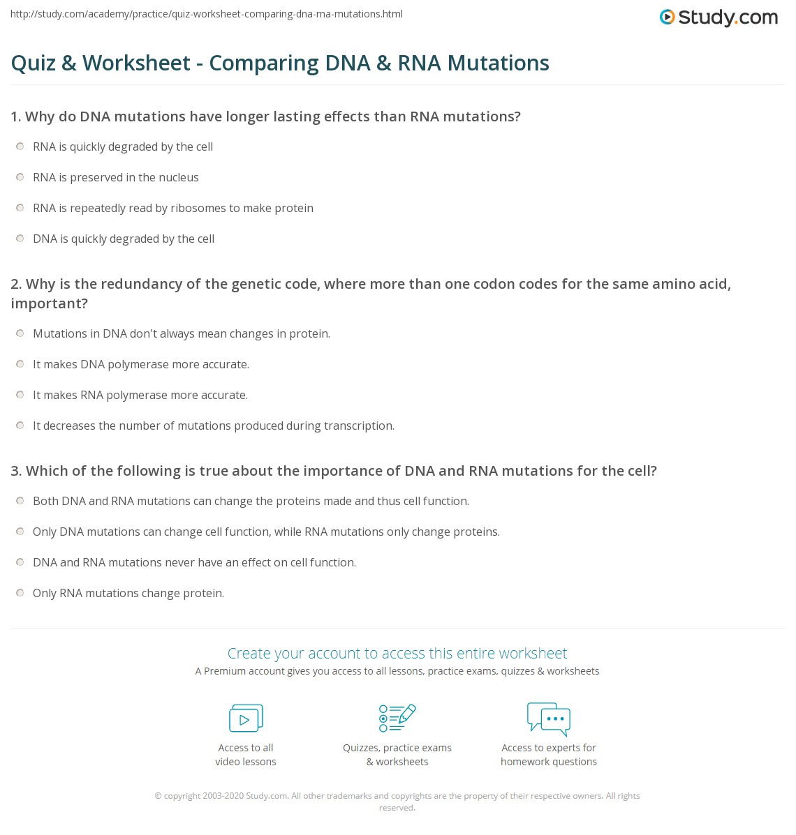 worksheet Dna Vs Rna Worksheet quiz worksheet comparing dna rna mutations study com print vs worksheet