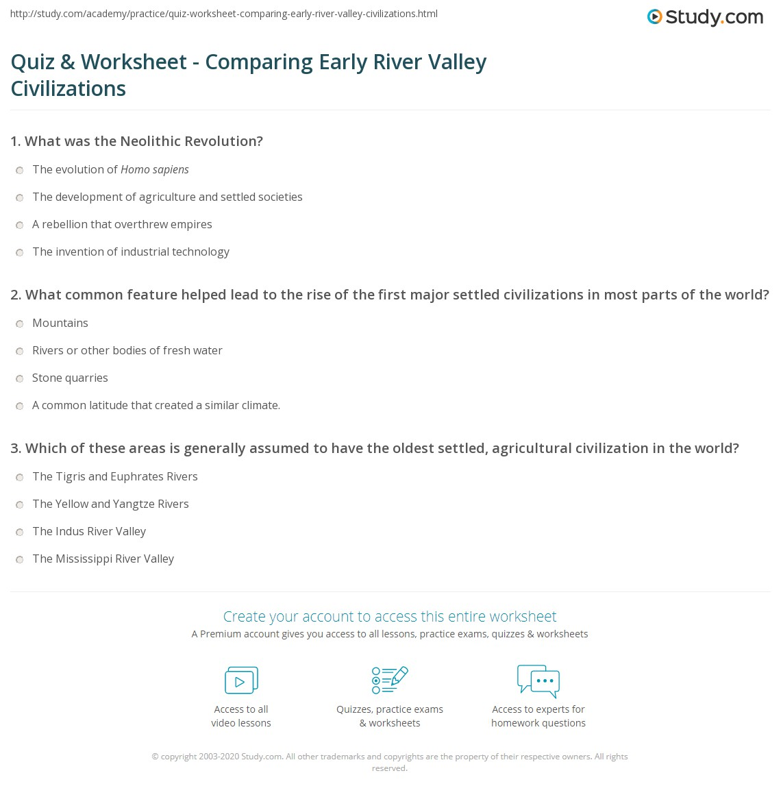 Quiz Worksheet Comparing Early River Valley Civilizations