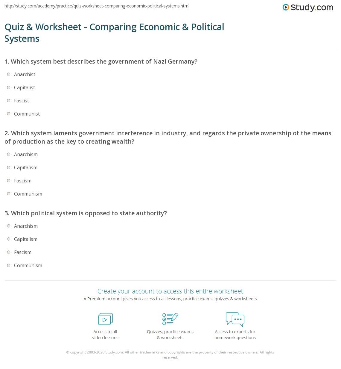 comparing economic systems worksheet. Black Bedroom Furniture Sets. Home Design Ideas