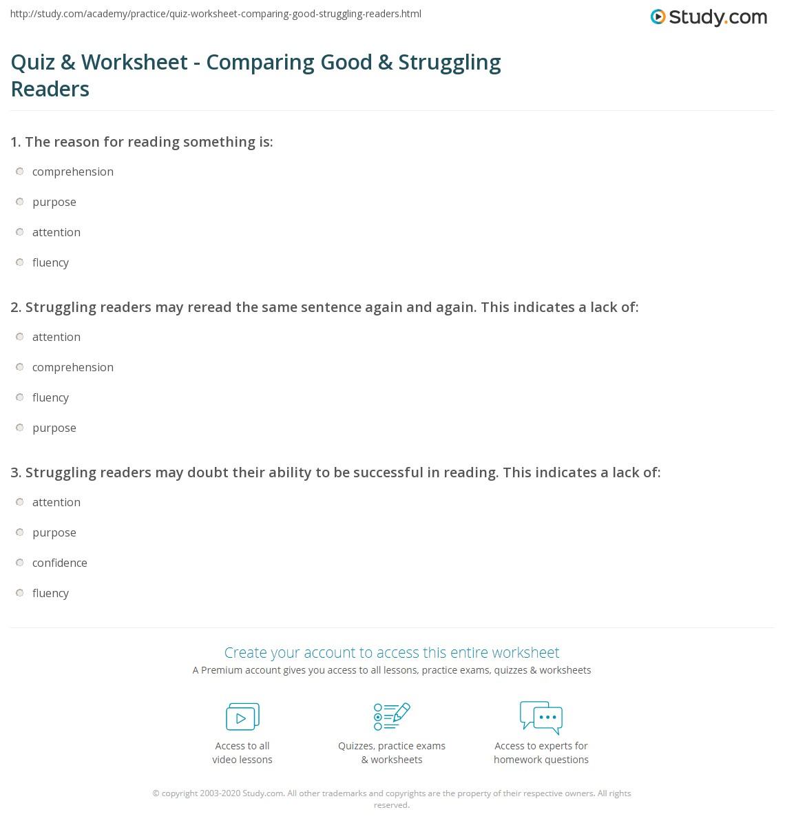 Quiz Worksheet Comparing Good Struggling Readers Study