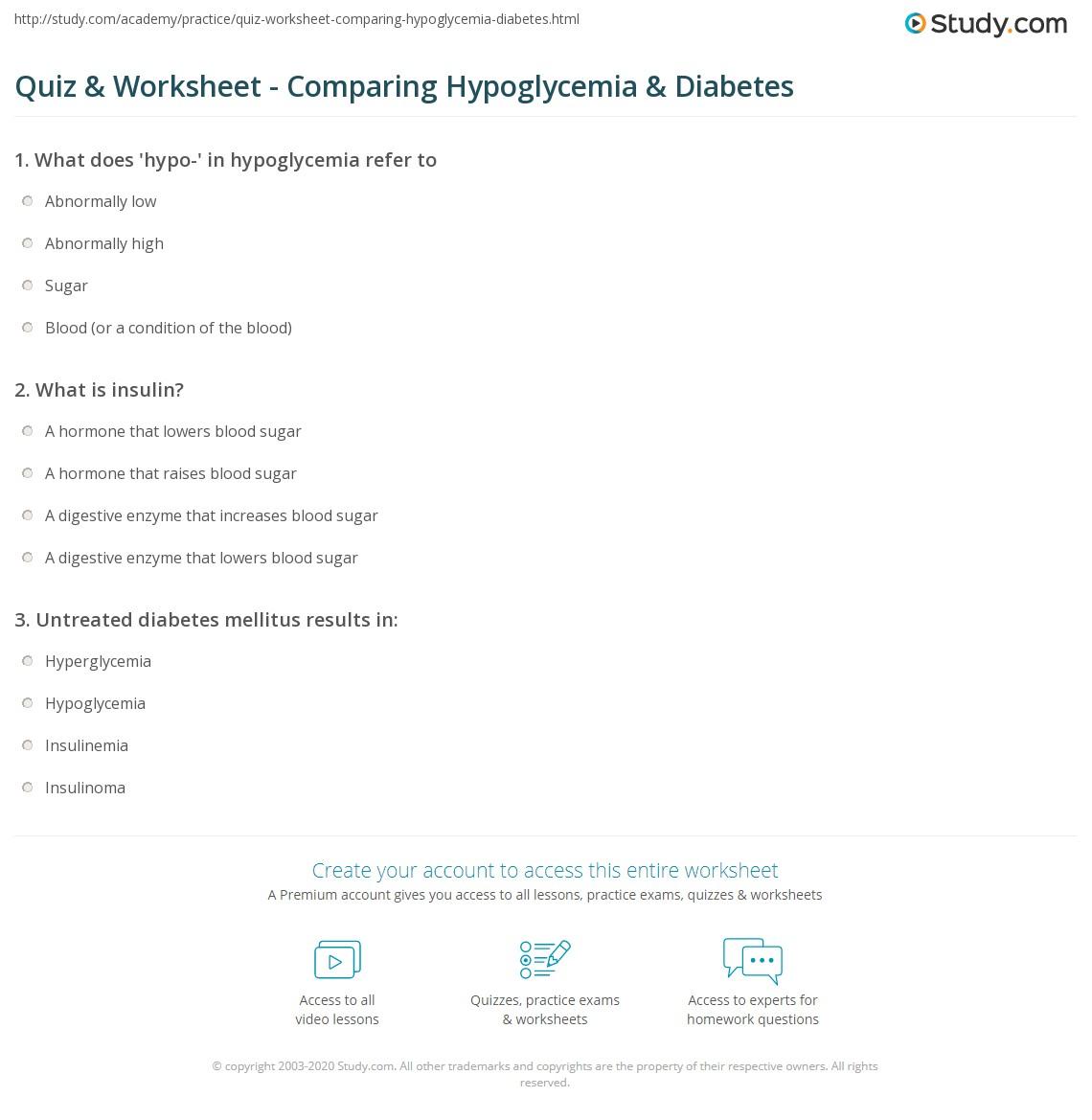 Quiz & Worksheet - Comparing Hypoglycemia & Diabetes   Study com