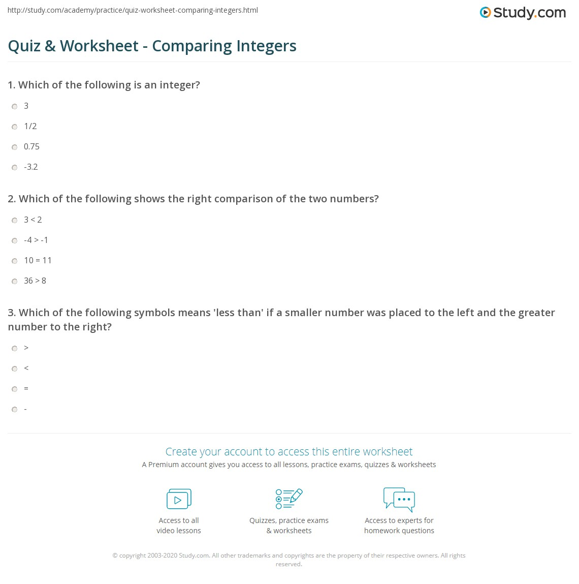 Worksheets Comparing Integers Worksheet quiz worksheet comparing integers study com print how to compare worksheet