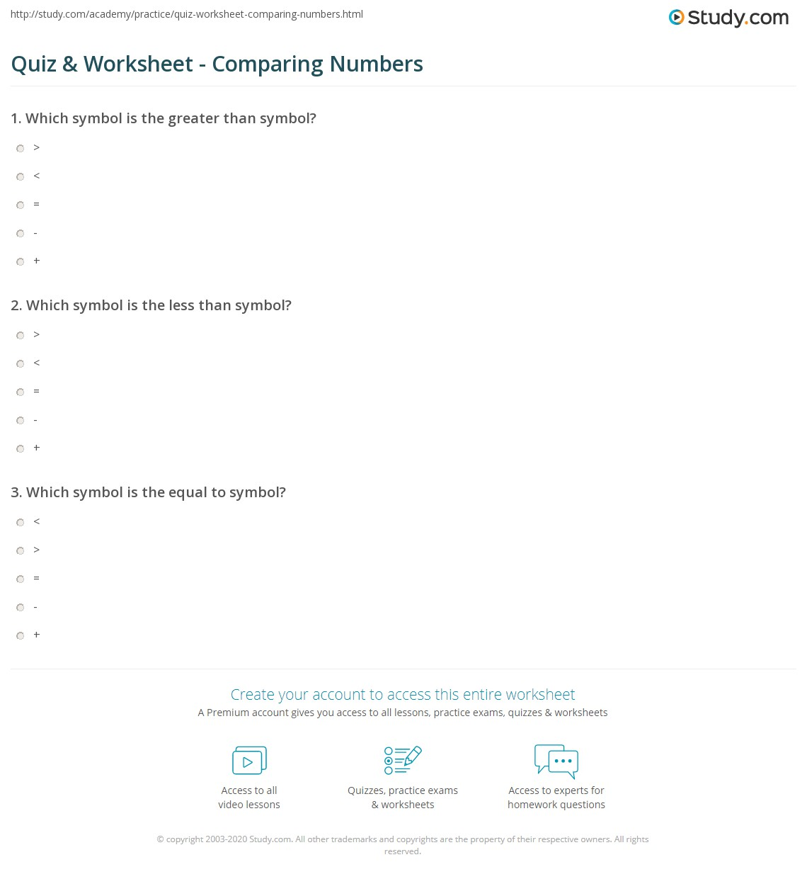 Quiz Worksheet Comparing Numbers Study