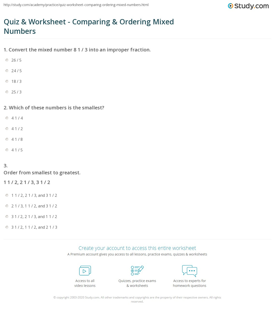 Quiz Worksheet Comparing Ordering Mixed Numbers Study