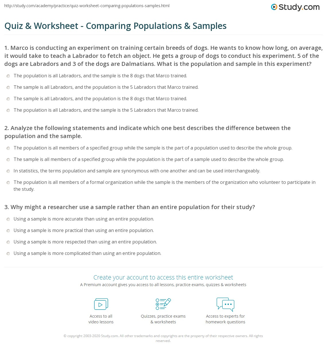 quiz worksheet comparing populations samples. Black Bedroom Furniture Sets. Home Design Ideas