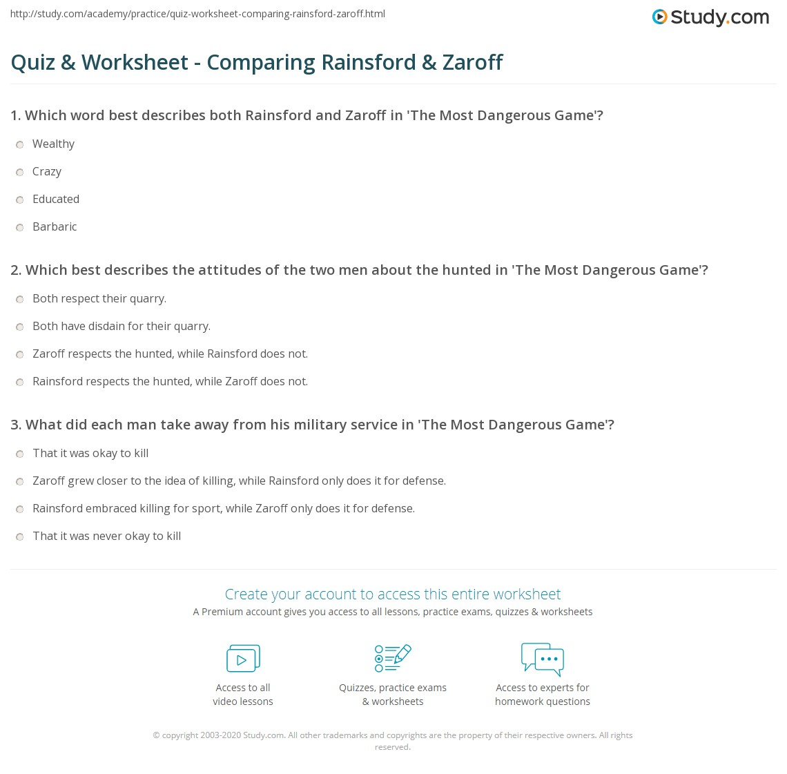 worksheet Compare Contrast Worksheets quiz worksheet comparing rainsford zaroff study com print compare contrast worksheet