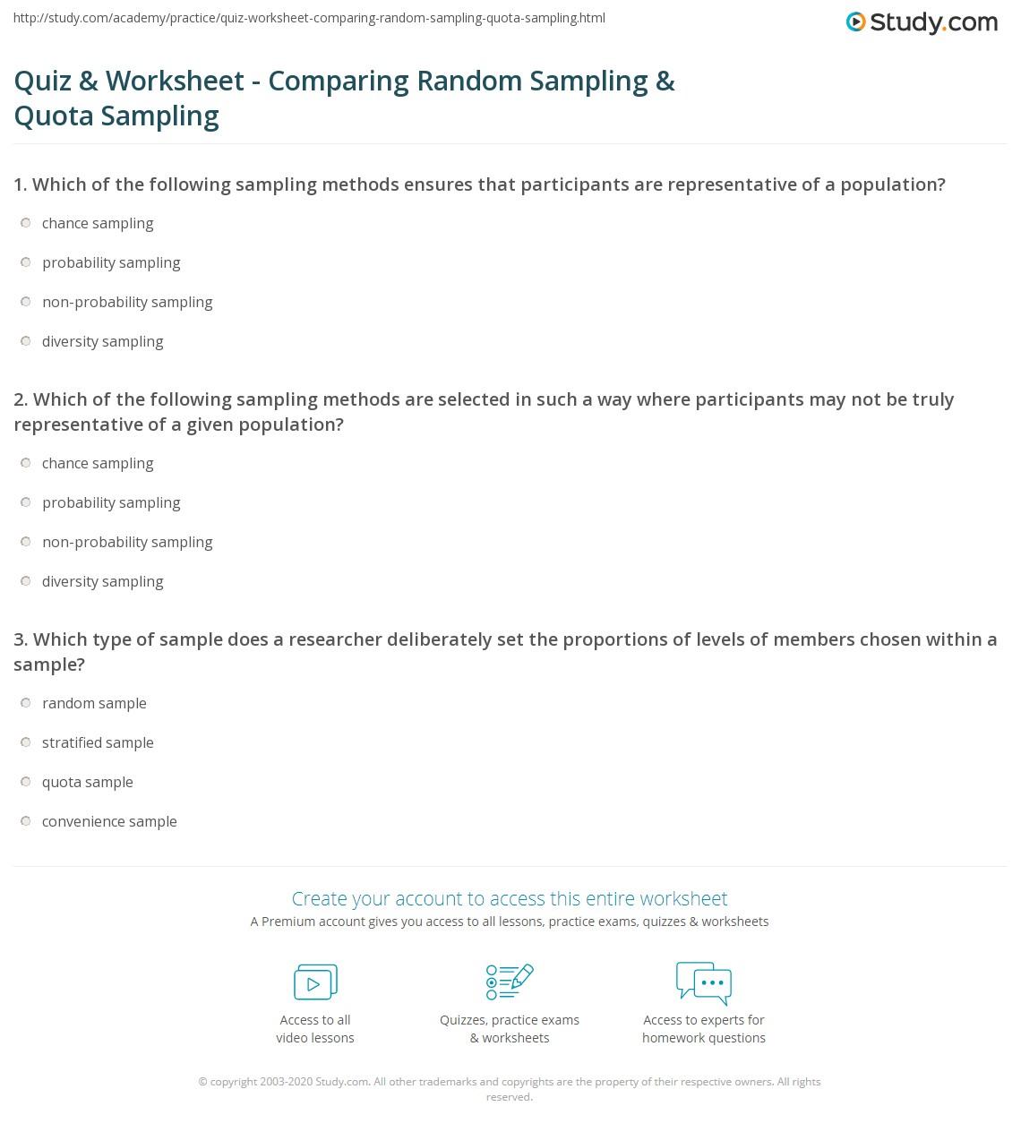 Quiz & Worksheet - Comparing Random Sampling & Quota Sampling ...